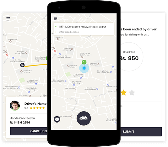 user pannel taxi app