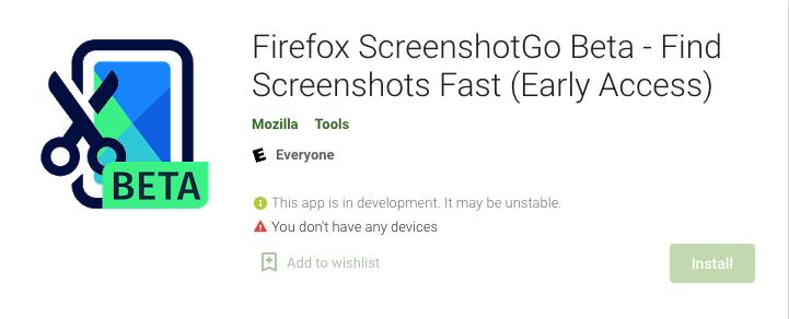 Firefox ScreenshotGo Beta