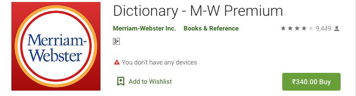 Dictionary – MW premium